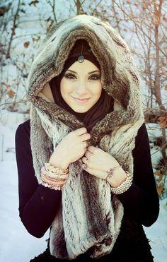 Hijabi Style fur shawl and bracelets over black ...snow!