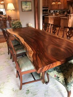 Live edge dining table Live edge with a hand crafted custom .- Live edge dining table Live edge with a hand crafted custom live edge base, unique dining table, slab table conference table - Unique Dining Tables, Wooden Dining Tables, Dining Room Table, Rustic Wooden Table, Walnut Dining Table, Dining Room Lighting, Wood Slab Table, Wood Table Design, Live Edge Furniture
