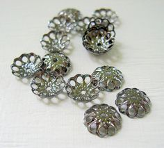 Gunmetal Bead Caps (100) Fit 6 - 14mm Beads Antique Pewter Beads Findings with Flower Design Wholesale Jewelry Supply CrazyCoolStuff