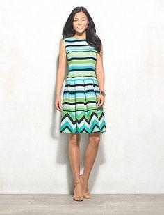 Stripe Zig-Zag Fit-and-Flare Dress