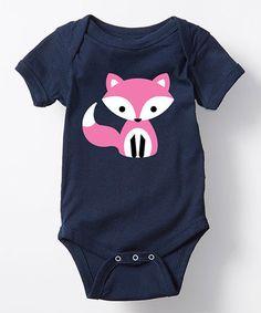 Loving this Navy & Pink Fox Bodysuit - Infant on #zulily! #zulilyfinds
