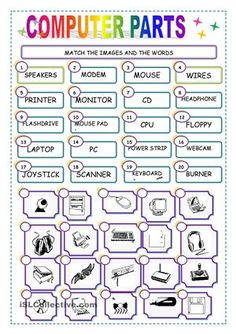 MATCH THE COMPUTER PARTS worksheet - Free ESL printable worksheets made by teachers