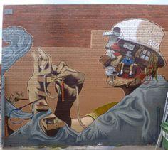 Rad (Conrad Bizjuk), Melbourne Street Art Melbourne, World Street, Amazing Street Art, Street Artists, Cool Art, Graffiti, Around The Worlds, Museum, Urban