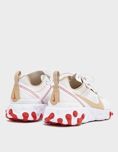 React Element 55 Sneaker in White Converse, Vans, Disney Halloween Costumes, Shoe Size Conversion, Cotton Lace, White Nikes, Baby Shoes, Lace Up, Fashion Outfits