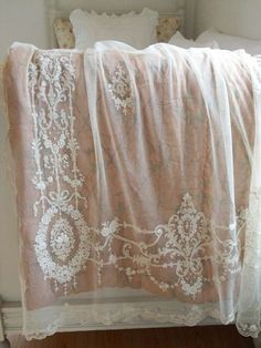 ⌖ Linen & Lace Luxuries ⌖ lace comforter cover