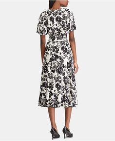 2ca5d6c37b8 Antonio Melani Chloe Pleated Floral Print Puff Sleeve Midi Dress ...
