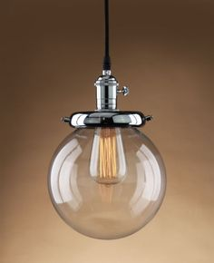 RUSTIC-VINTAGE-CLEAR-GLASS-ROUND-GLOBE-SHADE-PENDANT-LIGHT-HANGING-LAMP-FIXTURE