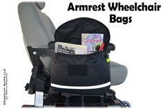 Armrest Wheelchair Bags from Discount Ramps are available in a variety of sizes and shapes to keep your glasses, documents, water bottle or other personal items close-at-hand. For use with most models of power chairs, mobility scooters and wheelchairs.