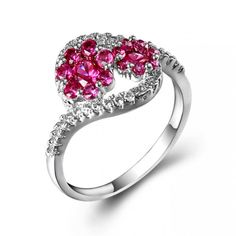 Paved Tiny Gemstones and Cubic Zirconia Flower Ring Wholesale China Manufacturer