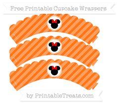 Free Pumpkin Orange Diagonal Striped  Minnie Mouse Scalloped Cupcake Wrappers