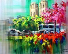Josep Teixido, Abstract Painter, knife paintings, Paintings, Spanish Artist, Spanish Painter, colorful painting, City Street Scenes, City Paintings,