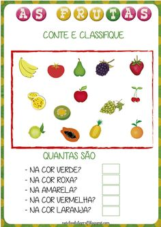 Notebook da Profª: Projeto As Frutas - Contagem Rain Crafts, Teaching, Education, Gabriel, Professor, Blog, Decor, Physical Activities For Kids, Activities For Kindergarten