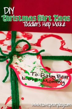 DIY Christmas Gift Tags Toddlers Help Make. Using beautiful art prints made by your toddler!