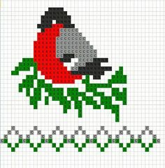 bird- graph for knitting or cross stitch Cross Stitch Bird, Cross Stitching, Cross Stitch Embroidery, Cross Stitch Patterns, Knitting Charts, Knitting Stitches, Knitting Patterns, Crochet Patterns, Crochet Designs