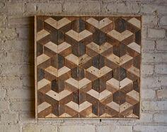 Arte de pared de madera reciclada Teselación por EleventyOneStudio