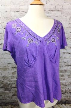NWT LANE BRYANT Embellished Purple Top Plus Size 14/16 Linen V-Neck Beaded New #LaneBryant #KnitTop #Casual