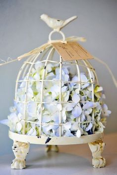 Bird cage & hydrangeas- flower arrangements for the home
