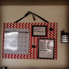 Organization Board, super easy to make! -used a thick poster board - fabric - ribbon -dollar store frames - dry erase calendar