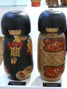 Kokeshi Twins in Kimonos, via Flickr.
