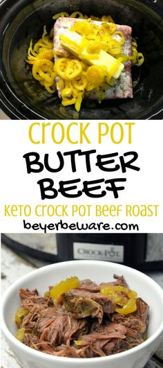 The combination of butter, ranch and Italian seasonings with the banana pepper rings give lots of zesty flavors making crock pot butter beef my go-to keto crock pot beef roast recipe. #Beef #Butter #crockpot #keto