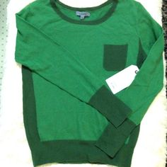 CURRENT ELLIOTT Gainsbourg Colorblocked Sweater The Crew sweater, from the C/E Charlotte Gainsbourg collaboration. Color blocked in shades of green with faux front pocket, contrasting trim and side panels. Brand new with sample tags. C/E size 0 which fits XS per their size guide. Current/Elliott Sweaters