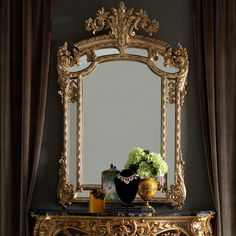 The large gold rococo wall mirror is the most stunning addition to any setting. Shown here in a beautiful antiqued gold, finished with hand painted accentuating detailing to the elaborately carved frame. ➤ Discover the season's newest designs and inspirations. Visit us at http://www.wallmirrors.eu #wallmirrors #wallmirrorideas #uniquemirrors @WallMirrorsBlog