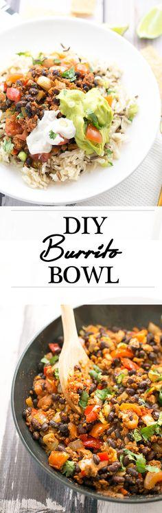 Homemade Burrito Bowl. Tasty Bean Mixture, Avocado Lime Sauce and Vegan Sour Cream on Rice. 100% Vegan.