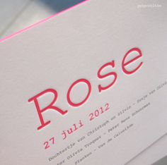 letterpress birth announcement 'ROSE' by polyprint24