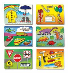"Six brightly painted, non-toxic wooden puzzles, illustrate popular themes from ""Birthday Party"" to ""Rainy Day"".  Great for developing naming and fine motor skills.  Satisfaction is attained without frustration as each puzzle has 4 - 6 pieces."