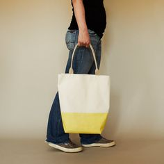 Lemon Yellow Latex Dipped Canvas Tote with Natural by ribandhull, $96.00