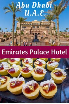 Emirates Palace in Abu Dhabi, UAE is the second most expensive hotel ever built, and boasts beautiful architecture that you can visit for FREE, plus delicious gold-decorated food!