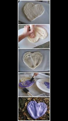 I want to do this. Also a great idea for Christmas gifts. Salt dough recipe: 1 cup salt 1 cup plain flour 1/2 cup of warm water Mix together in a large bowl and knead until smooth and stretchy. This last part is important, otherwise the dough remains sticky and granular. If it is still too sticky add a bit more flour, if too dry and crumbly add s tiny touch more water. A little nit of trial and error is all that is needed, and it really is so easy! -Mom's Got Ink, fb