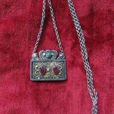 Turkmenistan – Yomud tribal antique gilded silver necklace