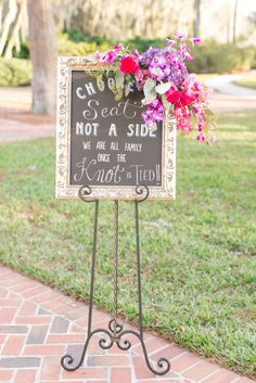 Vintage Gold Wedding Sign with Colorful Florals
