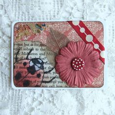 ACEO, Collage with Ladybird Illustration on Vintage Book Scrap £2.50