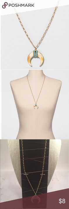 """•Sugarfix by Baublebar Squash Blossom Necklace• Looking to create a long, lean silhouette? Look no further than the SUGARFIX by BaubleBar™ Squash Blossom Pendant. A neutral, mottled squash blossom pendant is decorated with tiny turquoise cabochons. It's just begging to be paired with V-necks and blazers alike.                                                                                           13"""" chain length with 2"""" chain extension  Lobster clasp closure for easy fastening Necklace is…"""