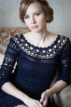 crochelinhasagulhas: Vestido de crochê Vanessa Montoro II