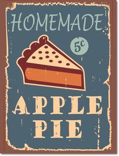 """Retro / Nostalgie Blechschild """"Apple Pie"""" - Schild aus Aluminium ( 01 ): Amazon.de: Küche & Haushalt"""