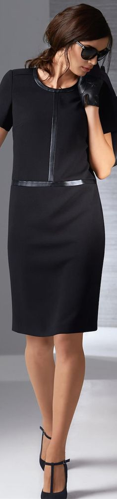 Madeleine Black Dress with Faux Leather Trim