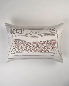 cute satin typewriter pillow from Exclusively In