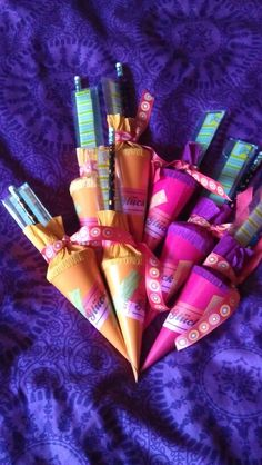 Minischultûten mit Wertmarken fürs Leben Unicorn Birthday Parties, Art Supplies, Decoration, Party, Handmade, Gifts, Branding, Life, Decor