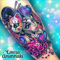 Unicorn Tattoos, Tattoos Skull, Pin Up Tattoos, Girly Tattoos, Anime Tattoos, Badass Tattoos, Cute Tattoos, Beautiful Tattoos, Body Art Tattoos
