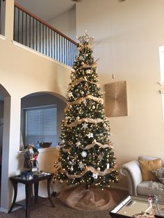 12 ft Christmas Tree with deco mesh. Go big or go home ! | Things ...