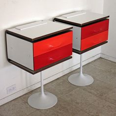 Rare Raymond Loewy DF2000 Nightstands / Side Tables Mid Century Modern Space Age