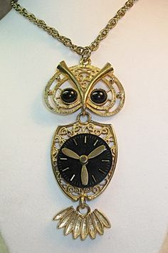 Steampunk Owl Pendant Necklace/Vintage Sarah Coventry | TimelessDesigns - Jewelry on ArtFire