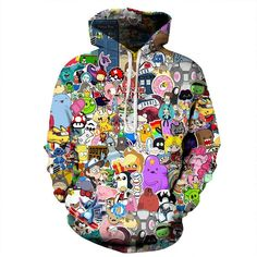 Cartoon Collage Hoodie. Psychedelic, trippy clothes, cool, streetwear, trippy art, crazy, adventure time, pokemon, nyan cat, domo kun, angry birds, zelda, monsters inc, my little pony, lilo and stitch, totoro, sailor moon, south park, futurama, mario, donut, kitten, simpsons, bart, legend of zelda, color blast
