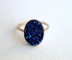 Midnight Blue Drusy Ring on 14k Gold-Fill Band I want this so bad. I may actually pay $108 for it.