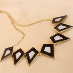 Fashion Style Quadrilateral Black and White Pendants Necklace