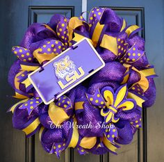 New to CreationsbySaraJane on Etsy: Mesh LSU Wreath with Fleur de Lis - Louisiana State University Mesh Wreath (80.00 USD)