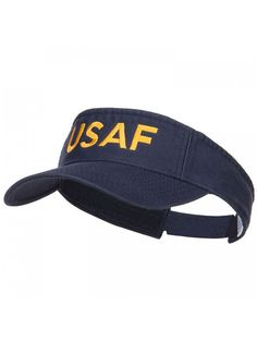 competitive price 57a76 741c6 USAF Embroidered Cotton Washed Visor - Navy - C1184WX9CLX. Women s HatsCaps  ...